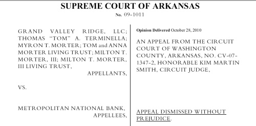 Appeal Dismissed Without Prejudice